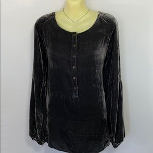 Johnny Was Silver Velvet Tunic Peasant Top S/M